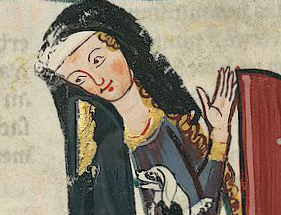 The lady wears a blue cloak lined in vair, or squirrel, fur. First half of 1300's