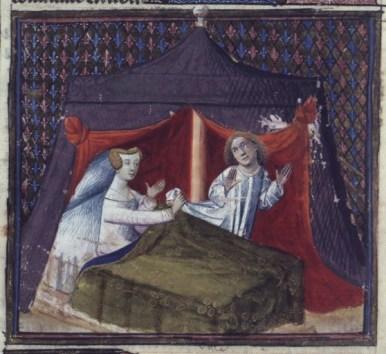 """Lancelot and the Seductive Damsel"", Lancelot du Lac (BNF Fr. 118, fol. 299v), early 15th century."