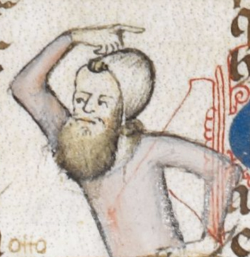 Man with a coif and a big bushy beard around the chin, early 1300's