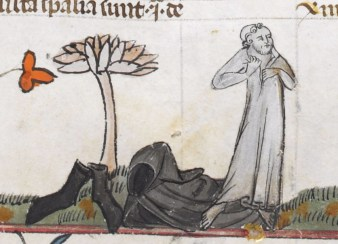 Traveler stripping off his outer clothing, now wearing a long shirt. Early 1300's