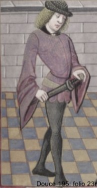 Doublet: item of male clothing, fitted and covering the upper part of the body and hips; originally was made of several thicknesses of cloth padded with silk or cotton and quilted. It began as an undergarment but gradually came to be worn on its own, with hose.