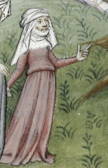 Woman wearing a cote and veil and gorget, c. 1413