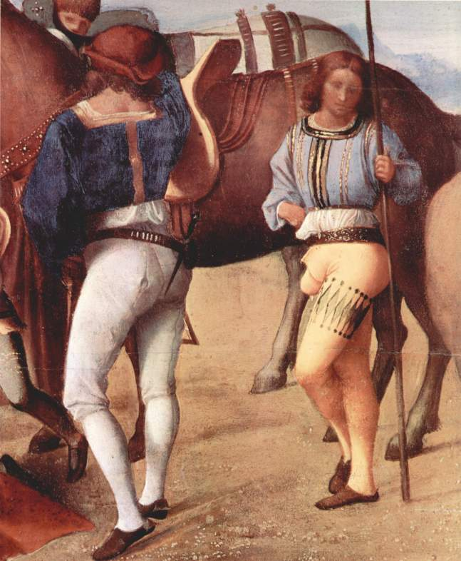 Italian hose of the first decade of the century. The man on the left wears hose divided into upper hose and nether hose or stockings. The man on right wears hose slashed around one thigh, with a pouched codpiece, 1500–1510.