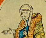 The Emperor and the countess wear overgowns and mantles trimmed with bands of gold embroidery. The countess wears a linen veil draped over her hair. Hugo von Cluny, Heinrich IV and Mathilde von Tuszien source: Cod. Vat. lat. 4922 (completetd in 1115 AD)