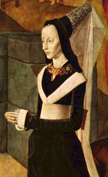 Her gown has a black collar trimmed in white fur and she wears an elaborate carcanet or necklace, Netherlands, 1478–78.