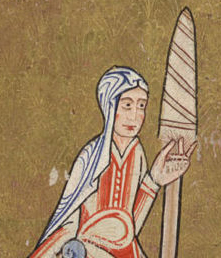 Eve spinning in a long gown with straight sleeves and a linen veil, c. 1170. Hunterian Psalter c. 1170