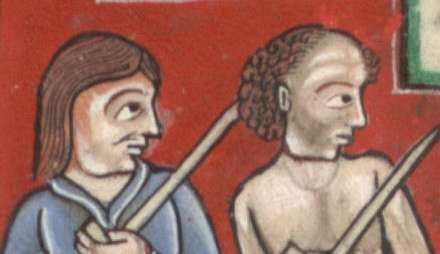 Two men working a field. They both have longish hair. C. 1170