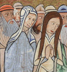 "Two women from ""The Raising of Lazarus"", folio 11v, detail from the Hunterian Psalter, Glasgow University Library MS Hunter 229 (U.3.2)"