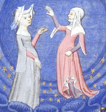 Two woman wearing kirtle with a surcote over. Notice that the two dresses are different colors and that the sleeves of the surcote is large and hanging from the elbow. 1413