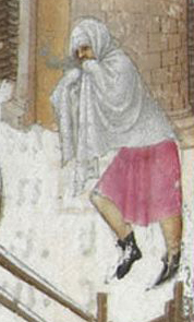 Peasant in bare legs, tunic and a big scarf, c. 1416