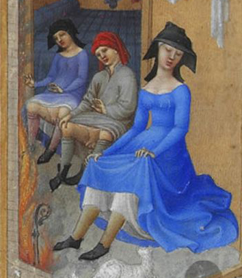 """February"" (detail) - Illumination on vellum from the ""Très Riches Heures du Duc de Berry"", between 1412 and 1416"