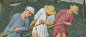 Straw hats, head & head wrap c. 1415