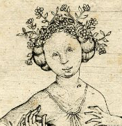 Woman wearing her hair braided flowers. First half of 1400's