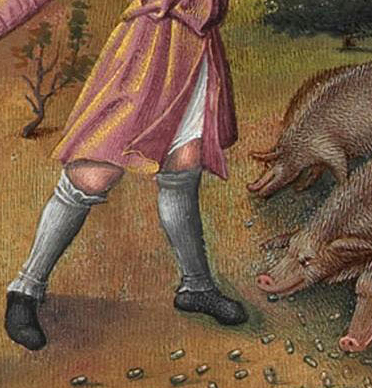Swine herd wearing leg wrappings, c. 1416
