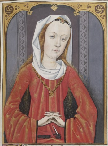 Young woman with loose hair with a strip of fabric around her hair(?), 1497