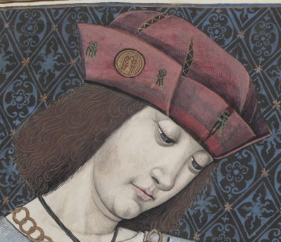 Man with a small redish beret/bonnet style hat. 1497