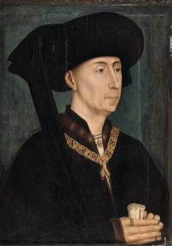 Philip the Good, Duke of Burgundy after Rogier van der Weyden, c. 1450, has an unusually large bourrelet, surely hollow. Conversely the patte could be tied above, whilst the cornette hung loose to front or rear.