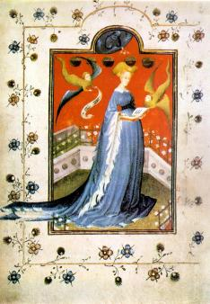 "Woman wearing a houppelande with ""dagged"" sleeves. c. 1415 Maria d'Harcourt et d'Aumale, wife of Reinald IV, Duke of Guelders and Jülich, in a houppelande, fol 19 of the Breviary of Marie de Gueldres"
