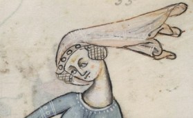 Lady in a blowing veil over crespine, c 1325-1340 Psalter ('The Luttrell Psalter'), 1325-1340