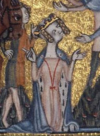 Mary de Bohun wears an ermine-lined mantle tied with red strings. Her servant wears a mi-parti tunic. c. 1380–85