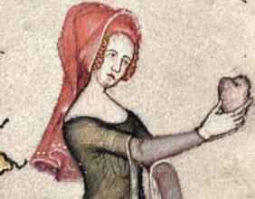 A woman wearing a red hood on her head Illustration from the French Romance of Alexander, 1338–44