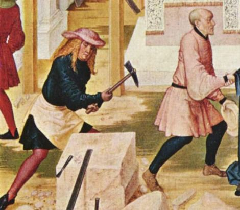 Bavarian stonemasons wear knee-length tunics, hose, and ankle-high shoes, c. 1505.