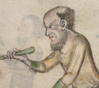 Older cook with a chin curtain and a balding head and fairly short hair, c. 1325-1340