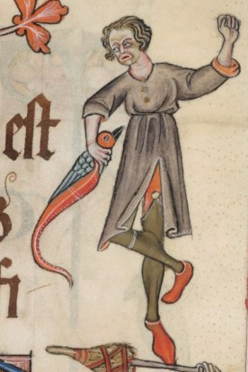 Man in hose pinned on another set of hose (it would seem), early 1300's