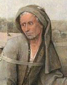 The prodigal son is dressed like a beggar, in undyed or faded clothing. He wears a hood and carries a hat with a brim and a wicker pack on his back, c. 1510.
