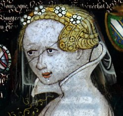 Complicated hairstyle and fairly simple veil with flowers, 1300's
