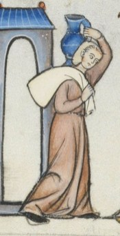 Servent woman wearing a cote and a head cover/veil wrapped or possible a cap. late 1200's