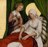 Geburt Mariens 1515-1525 Dieses Bild: 015601. German Medieval clothing. Early Renaissance