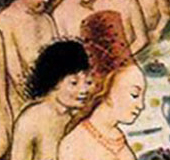 1470 bath scene - this lady is wearing a tall hat over loose hair to the public bath.
