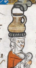 Woman carrying a jug on her head. Wearing a supportive ring and a veil tied at the side of her head. c 1300-c 1340