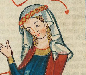 Simple veil held down by flowers or possibly beads or pearls (1305 - 1340)
