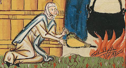 Servent woman in a veil wrapped around her head. She is wearing a long cote with a cape over. As she is working the fire I think she is a commoner of some sort, possibly a servent. c. 1300 - 1340