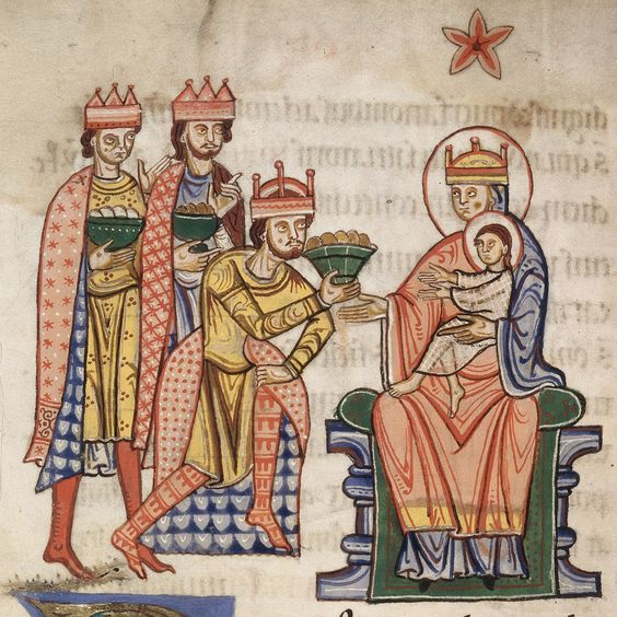 Virgin Mary (shown as a queen) wearing a bilaut over a cote in a different color. She is also wearing a mantle. c. 1175-1200