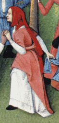 Woman wearing capuchon with very long liripipe. Late 1400's