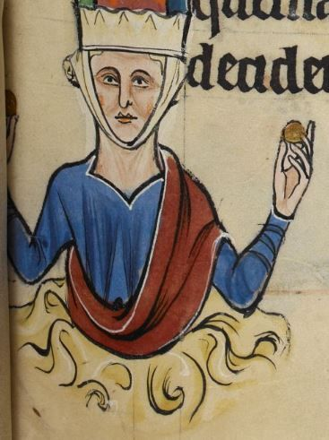 """Lady wearing the barbette and a chin band. c 1260 Detail from """"The Rutland Psalter"""", medieval (c 1260), British Library Add MS 62925. f 39r"""