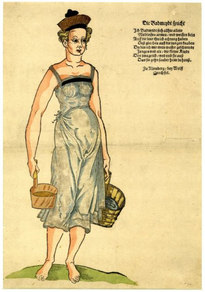 bathmaid in shift with narrow shoulder strips and weird hat, 1585.