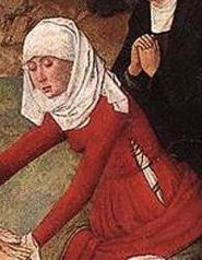 1400's middle class woman in a veil wrapped casually around her head