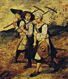Three female peasants walking, 1565 Notice how short their skirts are. They wear laced bodice and white wide sleeved shifts.