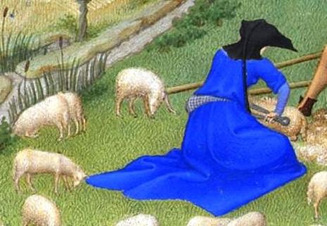 Woman in a blue dress and black hood. c. 1415