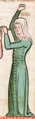 cotehardie with buttons down front and ties in the side to really show off the figure. c. 1360