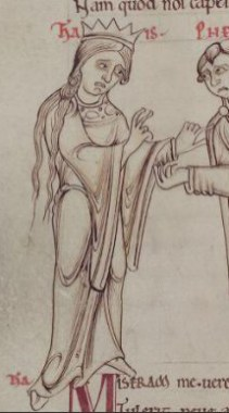 Bare headed queen in a bliaut. Her very long hair in a short braid or knotted c. 1150