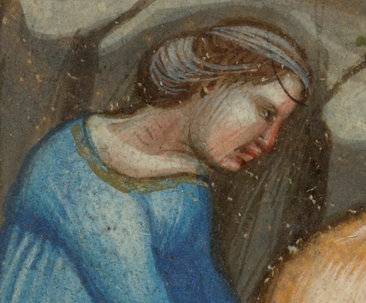 Lady with braided and pinned hair under a see though wail. Harvest Scene, 1325-1340. Harvest Scene; Initial U: A Figure; Attributed to the Illustratore (Andrea da Bologna?) (Italian, active 2nd quarter of 14th century); Bologna, Emilia-Romagna, Italy; before 1340; Tempera colors, gold leaf, and ink on parchment; Leaf: 14.4 x 7.6 cm (5 11/16 x 3 in.); Ms. 13, verso
