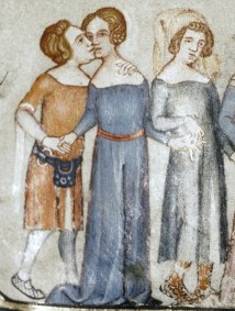 cote with a very wide and open neckline but a pretty loosely fitted body. c. 1338-1344