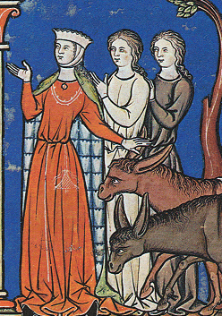 Women in cotes. One wearing a fine mantle and barbette. Notice how long the cotes hare. c 1250