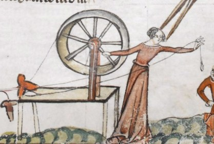 Woman spinning in her belted cote, c 1300 - 1340