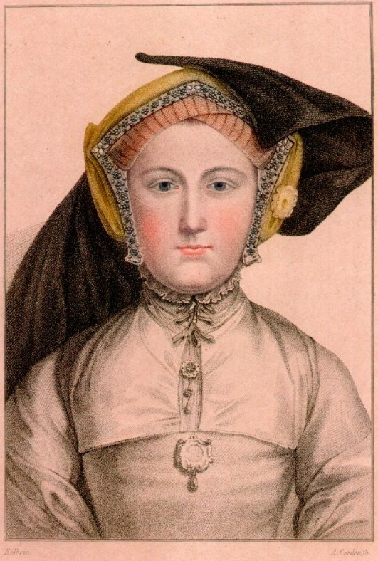 Gable hood with lappets and one side of veil pinned up